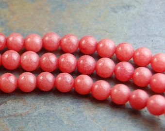 Coral Jade Beads Opaque Smooth 6mm - 16 inch strand