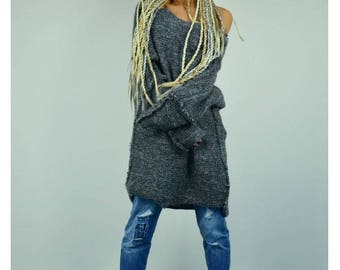 Oversized Sweater /Extravagant Knit Overall/Knit Wool Warm Top/Extra long sleeves /Winter Maxi sweater