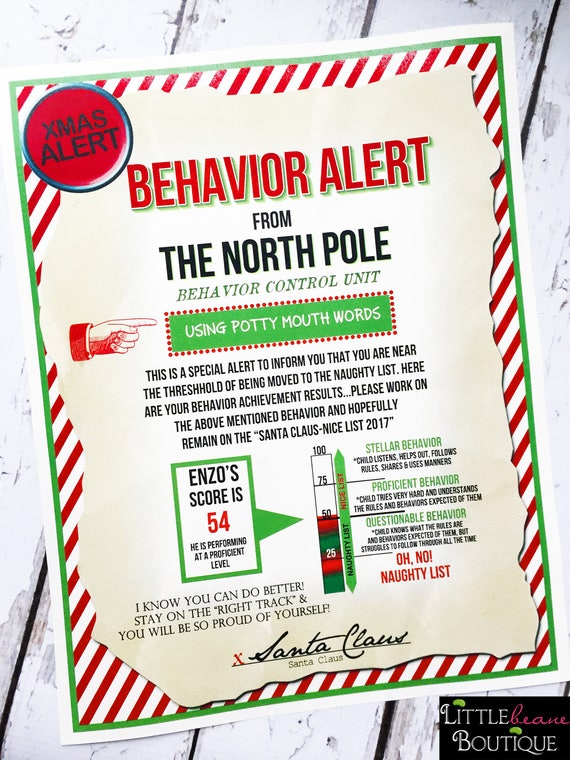 Printable santa letter kids christmas behavior alert printable santa letter kids christmas behavior alert letterwarning letternaughty listbehavior reportpersonalized santa lettermagic elf spiritdancerdesigns