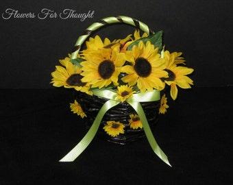 Sunflower Basket, FFT Design, Wedding Flowers Flowergirl Silk Wedding Flowers Accessory Made to Order