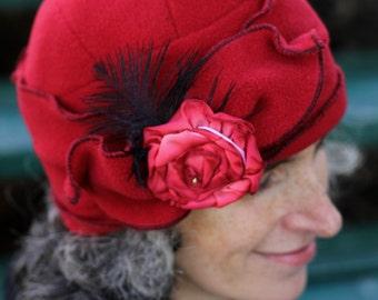 Flapper Hat - Polar Fleece Turban Cloche - Cherry Red - Eloise