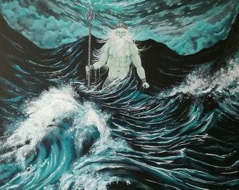 Neptune Rising. Original acrylic painting by Zoe Adams.