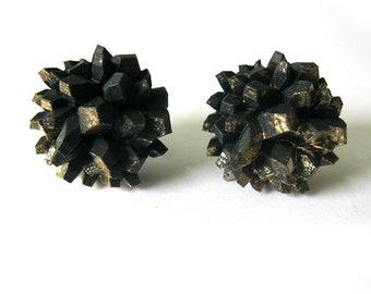 ROCK CANDY - Druzy Small Gold Dust Earrings - Crystal Earrings, Quartz Earrings, Rock earrings, Faceted Earrings, 3D printed earrings