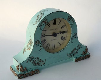 Shabby Chic decor Desk clock Shabby Chic Blue Mantel clock Table clock Wood desk clock Shabby Chic Turquoise Flowers clock Vintage clock