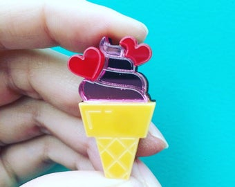 Brooch glass hearts, icecream, gift for friend, mother's day, ice cream jewelry, ice acrylic ice brooch plexi jewelry