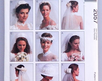 Bridal Veil Pattern - 8 veil variations and 1 hat for the perfect headwear to go with wedding gown; Uncut McCall's sewing pattern 2057