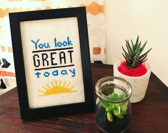 "Framed ""You Look Great Today"" Cross Stitch 4x6"""