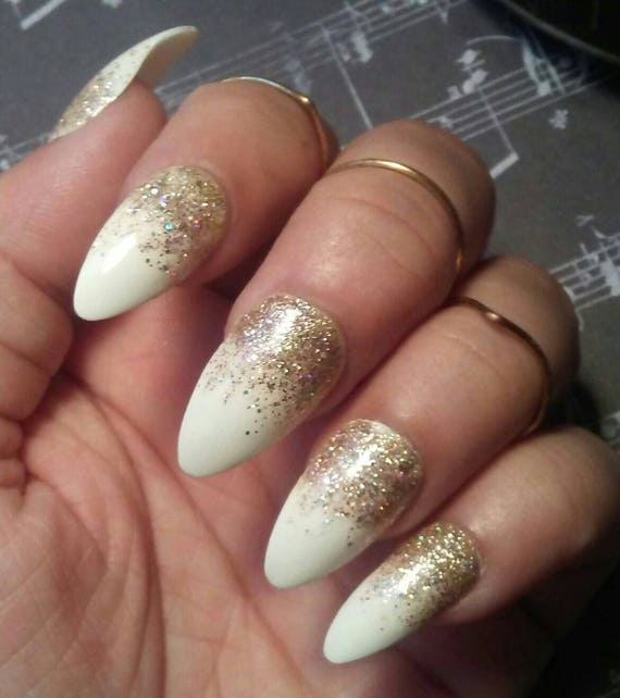 Stiletto Almond White Nails with Gold Glitter, Glossy or Matte ...