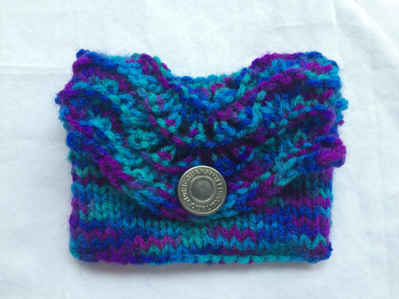 Gift card holder, hand knit wallet, gift card envelope, knitted ...
