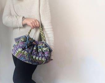 Crochet granny squares handbag, Crochet Bag, Tote Bag, Boho Style Bag, Customizable colors, gift for her