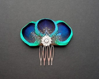 Peacock Feather Hair Comb Bridesmaids Hair Accessory Crystal Turquoise Blue Fascinator Wedding Bridal Accessories 'Tahlia'