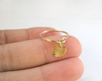 Gold ring, stack ring, hammered ring, thin simple ring gold, gold disc ring, gold filled jewelry
