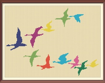 Birds Colorful Counted Cross Stitch Pattern PDF Chart Instant Download Modern Cross Stitch