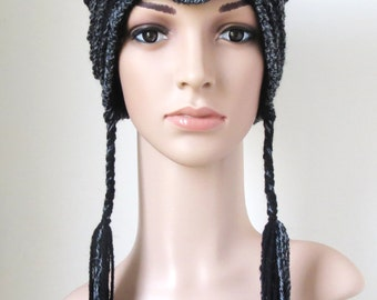 Cat Hat in Black and Gray, Gifts for Women and Teens Girls