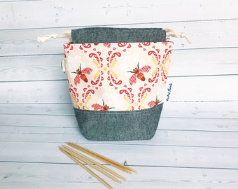 Bees/Small Project bag for Crochet/Knitting Bag/Crochet Bag/Project Bag/Sock Project Bag/Small Project bag/drawstring Project Bag- llamas