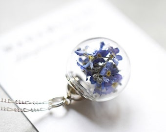 925er Silver Necklace with True Forget-me-not Blossoms