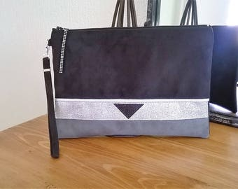 LARGE POUCH black and gray suede fabric