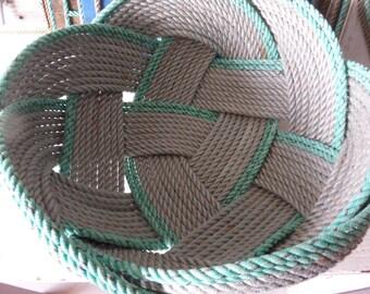 "Unique Rope Bread Basket Bowl 14"" x 8 ""   Centerpiece Nautical Decor Made in Alaska Choose"