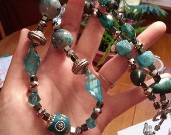 Aqua Teal Ball Necklace