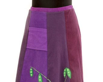 T-Skirt | upcycled, recycled, purple t-shirt skirt with pea pods appliqué + pocket