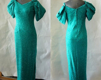 Vintage 80s Cold Shoulder Evening Dress / size 4 6 8 / Tourquoise Green Cocktail Gown Glitter Slinky Floor Length