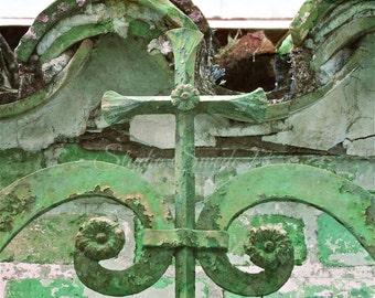"Cross Art, Spiritual Photo, Religious Print, Cross Photo, Christian Art, Architecture, Green Art, Decor Elements, Rustic Symbol- ""Patina"""