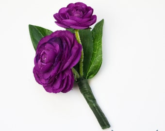 Violet Boutonniere, Violet, Dark Purple, Ranunculus, Boutonniere, Wedding Boutonniere, Silk Boutonniere, Bout, Button Hole, Wedding, Groom