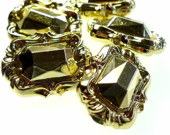 Beads, plastic golden jewel shape 10pcs