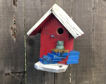 Red Birdhouse With Owl Knob, Functional Bird House For Garden Birds, Hanging Birdhouses, Red & White, Item #473974687