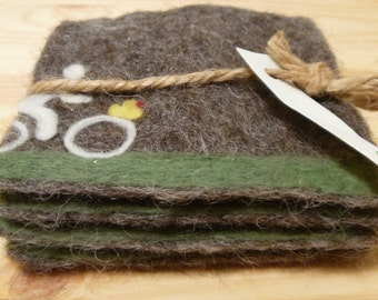 Handmade felted Coaster with bike/green hill