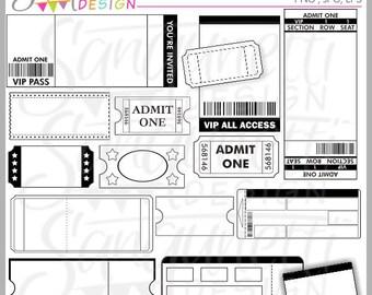 Tickets Galore Clipart, Ticket Clipart, Ticket Clip Art, Movie Ticket Cliaprt, Tickets for invitations