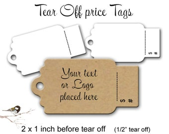 Perforated Price Tags, Price Tags, Merchandise Tags, Product Tags, 100 Price Tags, Tear Off Tags, 2x1 Inch Tags