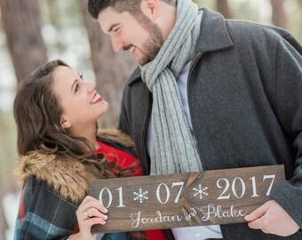 Wedding Date Sign - Winter Wedding Sign- Winter Wedding Decor- Wedding Sign- Wedding Signage- Engagement Photo Prop- Wedding Photo Prop