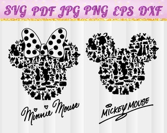 Mickey mouse,Minnie Mouse,Disney,cricut cut file,mickey mouse svg,Minnie Mouse svg,Disneyland,Silhouette,svg, jpg,pdf,png,dxf,eps,character