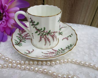 Vintage Demitasse Cup and Saucer, Royal Worcester Cup and Saucer, Vintage Bone China, Scottish Heather Flower on Tea Cup and Saucer