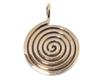 Pagan Bronze Spiral Labyrinth Maze Pendant Necklace (Spiritual Journey)