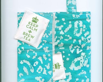 Tea Bag Wallet, TURQUOISE, Four Pockets, Handmade,Fabric FREE Shipping USa, Holds Tea & Sweetener - Also Travel Jewelry Wallet
