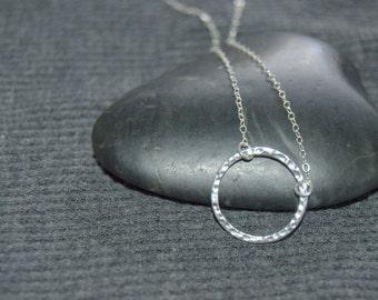 silver circle necklace, silver karma necklace, sterling silver open circle necklace, hammered ring necklace, minimalist necklace