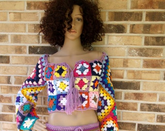 Hand Crochet Granny Square Top, Festival Top, Cropped Top, Festivle Cothing, clubwear, Summer Top, Long Sleeve, MADE TO ORDER