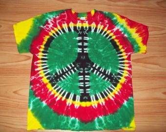 Peace Sign Tie Dye- S M L XL 2X 3X 4X 5X 6X- Kids Adult Plus Size Rasta Peace Sign Shirt