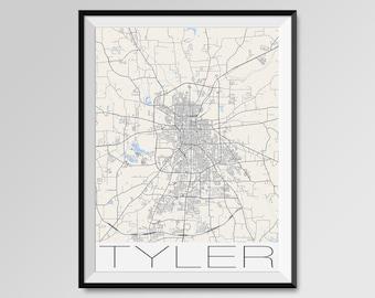 TYLER Texas Map, Tyler City Map Print, Tyler Map Poster, Tyler Wall Map Art, Tyler gift, Custom city maps, Texas black and white map