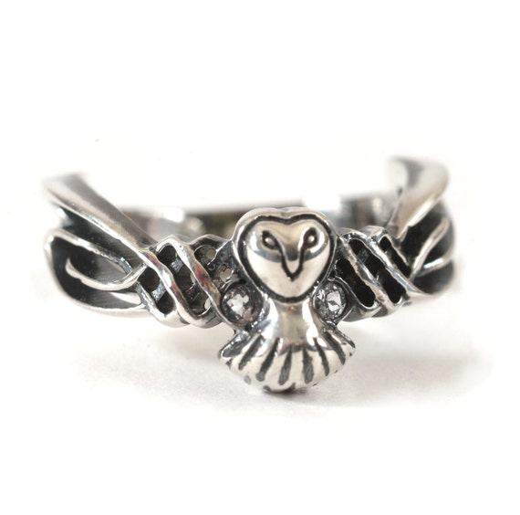 14K Gold Owl Ring, Celtic Ring, 14K Gold Ring, White Sapphire Ring, Unique Wedding Band, Owl Jewelry, Unique Gifts, Celtic Design CR-1011