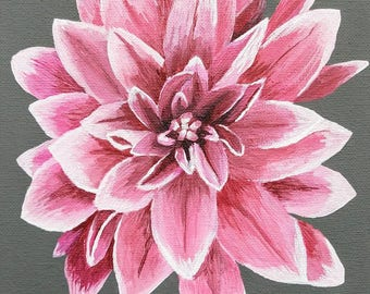 Original Acrylic Realistic Pink and White Dahlia Flower 8x10 Canvas