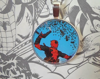 "1"" Deadpool with flying bullets necklace"