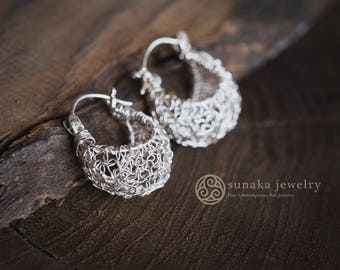 Sebun Solid Silver Wire Earrings, Hoop Earrings, Balinese Handmade Earrings