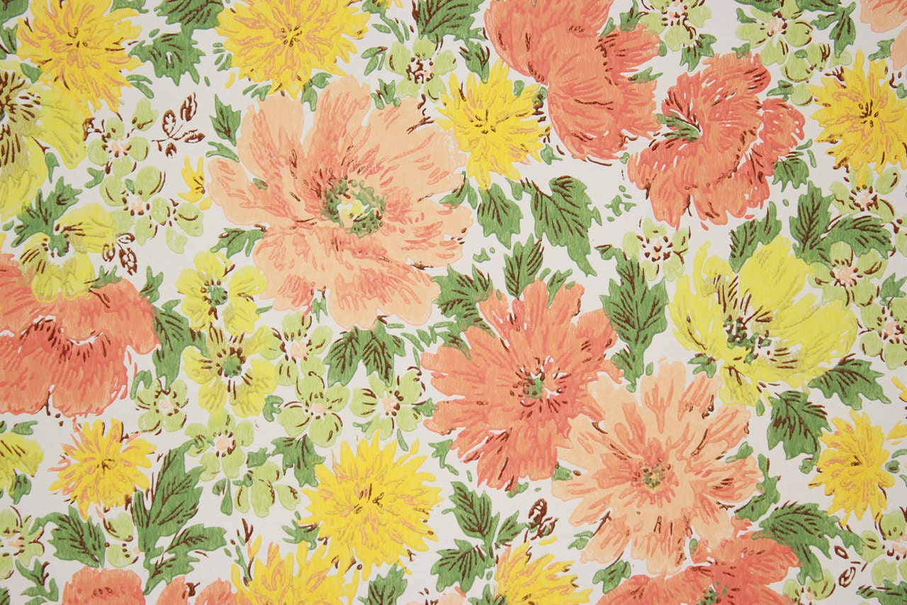1960s Retro Vintage Wallpaper Orange And Yellow Flowers On White By