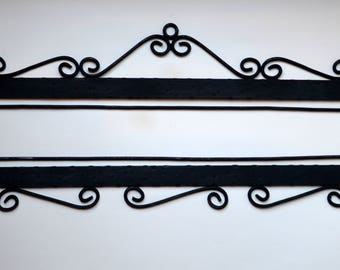 Wrought iron embroidery hangers for 45 cm wide textile Vintage bell pull style metalwork Pair of quilt hangers Wall rug metal hardware