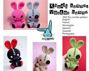 Kawaii bunny & Voodoo bunny - amigurumi crochet pattern. Languages - English, Norwegian, Spanish, French, Swedish, Portuguese