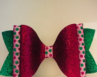 X-Large Raspberry Pink and Green Polka Dot Fine Glitter Fabric Hair Bow on Alligator clip for Girls, Toddlers, Women