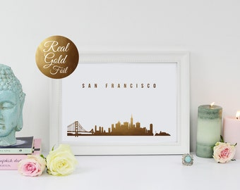 San Francisco Skyline, Real Gold Foil Print, San Francisco Print, San Francisco Art, California Print, Golden Gate, City Print, Cityscape.